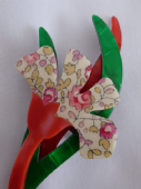 Lea Stein Flower Brooch - Liberty effect flower on stem (Sold)